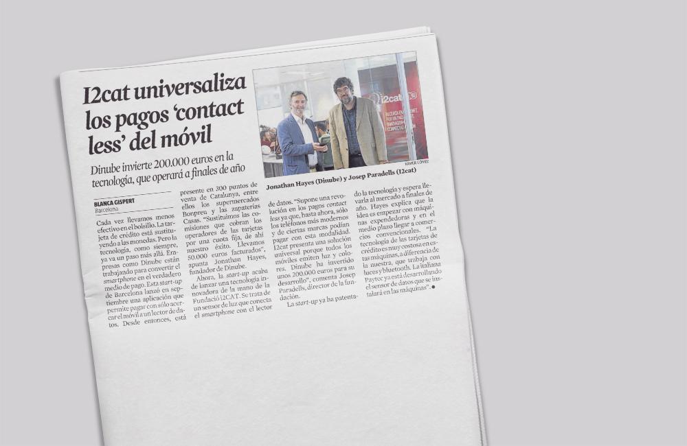 La solución de pago contactless de i2CAT, en La Vanguardia